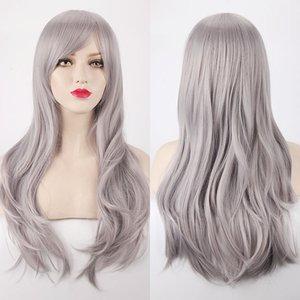 Lange lockige Perücke mit Front Bang Haar für jede Hautfarbe High Temperature Silk Perücke Kopfbedeckungen
