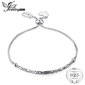 JewelryPalace Faithful Love Created Ruby Dangle Heart Vintage Pattern Engraved Bracelets 925 Sterling Silver Nice Gift For Women C18110801