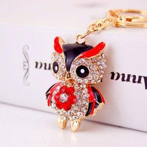 Owl Keychains Keyring Crystal Rhinestone Women Holder Bag Charm Keychain Key Chains Ring Jewelry Wedding Favor 5 Colors Accessories