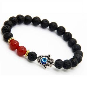 2018 Lava Stone Yoga Energy Beaded Bracelet Antique Gold Silver Hamsa Hand Accesorios de joyería de moda para mujeres Hombres