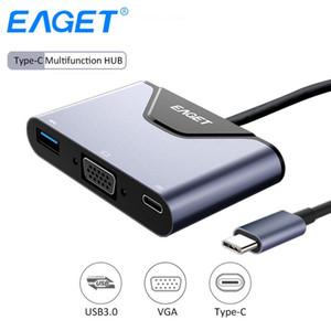 EAGET 3 в 1 Многофункциональный Тип C к VGA-концентратор USB 3.0 концентратор разветвитель USB 4К высокой четкости USB-порт-c конвертер Hub адаптер VGA для ноутбука MacBook
