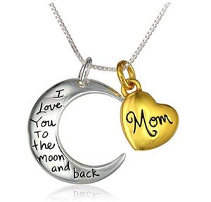 "Two-Tone ""Mom I Love You To The Moon and back"" Pendant Set of Two Necklaces Gift for Mother Daugther , 18"" , 20Piece Lot , LN901"