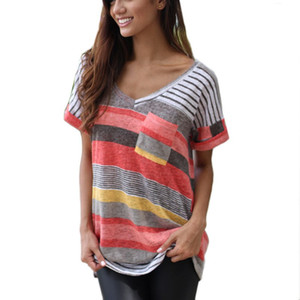 CDJLFH Artı Boyutu S M L XL XXL Femme Moda Yaz Tshirt Kadın V Yaka T gömlek Kadın Üstleri Tee Rahat Çizgili Kısa Kollu 2017
