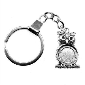 6 Pieces Key Chain Women Key Rings For Car Keychains With Charms Owl Single Side Inner Size 14mm Round Cabochon Cameo Base Tray Bezel Blank