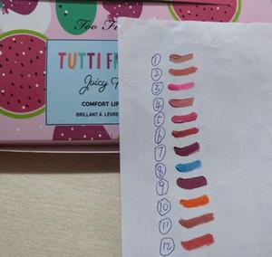 핫 세일 !! 고품질 유명 브랜드 향이 나는 립스틱 Tutti Frutti 과일 반짝이 립글로스 12colors Juicy Fruits comfort 립 글레이즈