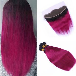 Горячий розовый Ombre пучки человеческих волос с фронтальной кружева закрытия темные корни 1b розовый Ombre индийские волосы ткет с кружевом фронтальной