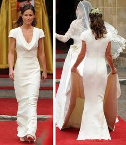 Vintage acessível pippa middleton dama de honra vestido barato desenhista simples vestidos de casamento branco uma linha drapeado vestidos nupciais do pescoço