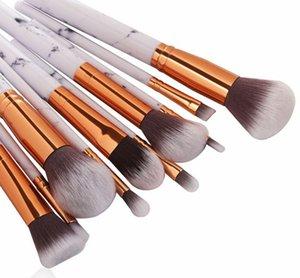 MAANGE 10Pcs Marble Texture Makeup Brushes Set Powder Foundatin Ombretto Contour Blush Cosmetico Marbling Make Up Brush Tool