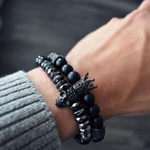 Mcllroy Hot Bracelet Hommes 8 mm Crâne Noir Titane Acier Onyx naturel Perles Pierre Crâne Charm Bracelet Homme Mode Bijoux