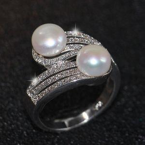 2018 Новое прибытие лучшие продажи роскошные ювелирные изделия стерлингового серебра 925 два Pearl Pave CZ Алмаз партия офис женщины группа кольцо для любителей подарок