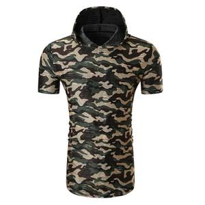 JAYCOSIN mens garçon cool chemises cadeau camouflage d'été impression slim fit à capuche tee shirt jul0218