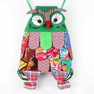 Nova Multi-cores Caráter Étnico Chinês Artesanal de Algodão Coruja Mochilas Crianças Pacote Crianças Meninas Escola de Moda Coruja Sacos Sacos de Retalhos