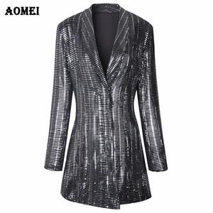 Paillettes doratura Shining Blazer Coat New Fashion Suit Donna Workwear Office Lady Blaser Abbigliamento Autunno Inverno Giacche lungo Outwear