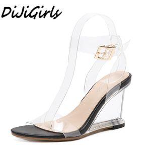 DiJiGirls novas mulheres gladiador sandálias senhoras bombas de salto alto sapatos de mulher Cristal Claro Transparente cunhas casuais sapatos