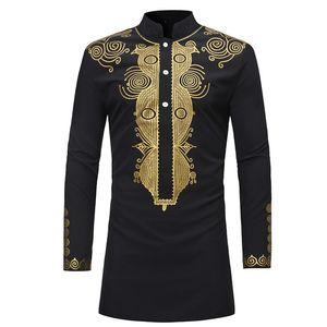 Camisa dos homens Roupas de Estilo Africano Roupas Masculinas África Dashiki Nacional Tradicional Ouro Quente Impresso Camisa de Mangas Compridas Branco M-08