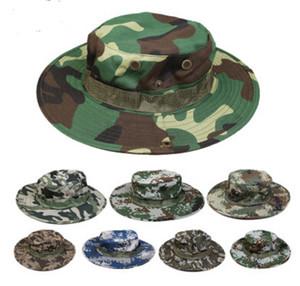 남성용 코튼 양동이 모자 패션 군사 위장 카모 어부 모자 와이드 브림 태양 낚시 양동이 모자 캠핑 사냥 모자