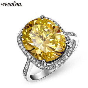 Vecalon 2018 Handmade Big Wedding Band ring for women oval cut 10ct 5A zircon cz White Gold Filled Female Engagement rings