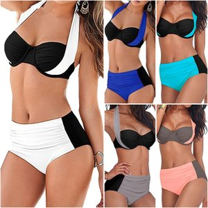 Sexy Bikini Women Swimsuit High Waist Swimwear Plus Размер Купальный костюм Halter Push Up Бразильская пляжная танкини