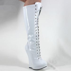 """النساء الأحذية إسفين كعب 18 سنتيمتر / 7 """"المتطرفة أحذية عالية صنم مثير الغريبة منصة سحاب الدانتيل متابعة براءات جلد الركبة أحذية"""
