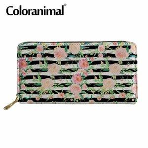 """محفظة Coloranimal طويل للمرأة تصميم امرأة """"حمل متسوقين المحمولة الفاصل حقيبة 3D طباعة الزهور جلدية PU المحفظة"""