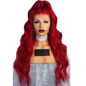 Resisitant Sintético Color del pelo rojo del frente del cordón pelucas de la onda del cuerpo Resalte el pelo rojo largo de calor con el pelo natural del bebé