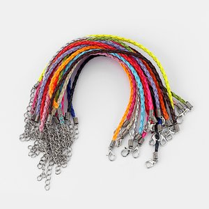 50 pcs Multicolor Leather Braided Charm Bracelet Love For Bead lobster Clasp Fine Jewelry