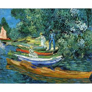 Pinturas a óleo handmade Vincent Van Gogh Barcos a Remo nas Margens do Oise arte da lona para a decoração da parede de Alta qualidade