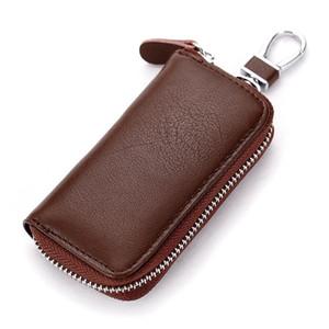 حقيقي جلد البقر الرجال المرأة سيارة مفتاح حقيبة محفظة متعددة الوظائف مفتاح حالة الأزياء مدبرة حاملي 6 حلقات