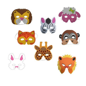 EVA Schiuma di maschere per animali Birthday Party Supplies Cartoon Kids Party Dress Up Costume Zoo Jungle Mask Decorazione del partito