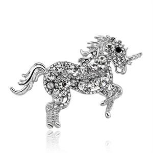 Broche de unicórnio elegante único cavalo strass broche de cristal pin