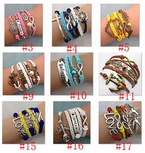 78 Tasarımlar çok renkler katmanları ile infinity bilezikler mix adam veya kadınlar için charm bilezik moda jewlery Inci infinity bracele inanıyorum