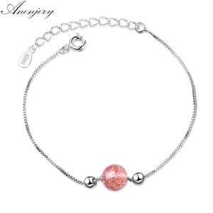 Anenjery Simple Fashion Natural Strawberry Crystal Lucky Bead Pulsera Para Las Mujeres Regalo de La Muchacha 925 Sterling Silver Baraclet S-B192