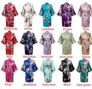 Silk Satin Wedding Bride Bridesmaid Floral Bathrobe Short Kimono Robe Night Robe Bath Robe Fashion Dressing Gown For Women