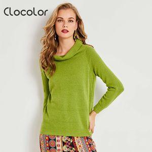 Clocolor Femmes Solid Turn-down Col Manches Longues Tricoté Pull Vert Couleur Casual 2017 Automne Femmes Chandail