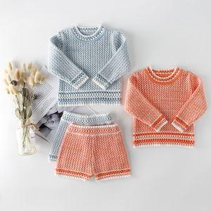 Infant in maglia Toddler Girls Boys Sets Neonati Vestiti Autunno Inverno Bambini Set di vestiti Shorts in maglia con pantaloncini Baby Set
