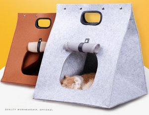 Portable Pet Cat Carrier Pliant Feutre De Laine Chat Maisons Voyage Sac Pour Chat Chiot 3 Dans 1 Multifonctionnel Nid Feutre Marche Sac