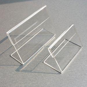 아크릴 T1.3mm 명확한 플라스틱 테이블 로그인 가격 태그 라벨 표시 종이 추진 카드 홀더 작은 L 모양은 50PCS 스탠드