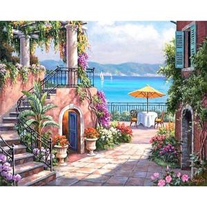 Sea Garden House Scenery Envío gratis, pintura al óleo pintada a mano del arte del paisaje en la lona Decoración del hogar Arte de la pared Múltiples tamaños l89