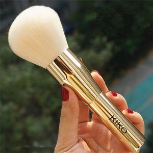 2018 vendita calda Italia Kiko Big Powder Brush capelli sintetici con manico in metallo dorato portatile kabuki viso sciolto polvere pennelli trucco nave libera