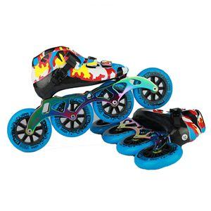 Camouflage Speed Inline Skates Concours professionnel de la fibre de carbone 4 roues Racing Patinage Patins Simple Powerslide Japy 045