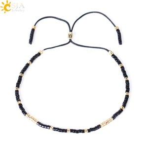 CSJA Cualquier Tamaño de la Muñeca Mini Crystal Seed Beads Bohemia Charm Pulsera Negro Miyuki Delica Pulseira Feminina Amante Joyería de Moda Venta Caliente S024