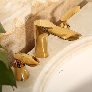 Robinet de lavabo de salle de bains en laiton doré de luxe en or Art design Robinet mélangeur à trois poignées