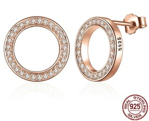 925 Sterling Silver and Plating Real Rose Gold Circle Diamond Prong Setting Jewelry Earrings Stud for Young Fashion Ladies with top quality