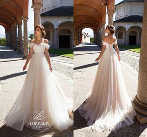 Simple lumière élégante Champagne Tulle Robes de mariage de plage 2020 Off épaules dentelle Corset Retour Appliques Robes de mariée Fait sur mesure