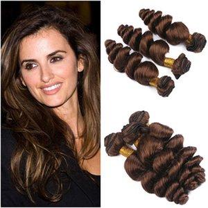 """Gevşek Dalga # 4 Çikolata Kahverengi Virgin İnsan Saç 3 Paket Fiyatları Toptan Perulu Koyu Kahverengi İnsan Saç Dokuma Paketler 10-30 """"Çift Atkı"""