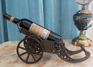 Cast Iron Cannon Shape Wine Bottle Holder Stand Tabletop Rack Wrought Iron Wine Rack Holder Metal Table Desk Decoration Vintage Ornament
