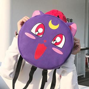 100 adet / grup Kawaii Sailor Moon Kedi Öğrenci Sırt Çantaları Kadın Tuval Sırt Çantası Sırt Çantası Bayanlar Genç Kızlar Için Omuz Çantaları