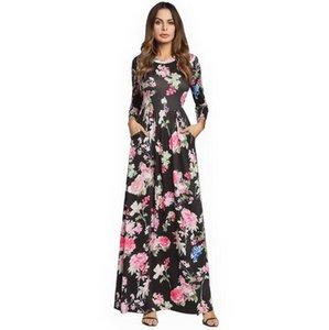Bohemian Baskı Elbise kadın yeni Avrupa ve Amerikan patlamalar Sekiz-noktalı kol yüksek bel çiçek baskı elbise