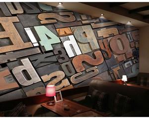 Personalizzato KTV Bar Wallpaper Cafe Murale Soggiorno Ristorante Vintage Wallpaper 3D Wood Block Personalità Lettera