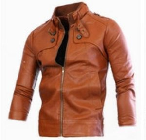Men spring autumn fashion boutique Korean version of the new trend of personality trim short collar short zipper fur coat  M-4xl